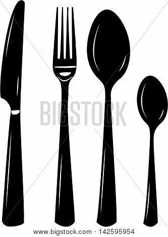 Cutlery vector illustration of knife, spoon, fork, teaspoon. Silhouettes in black and white