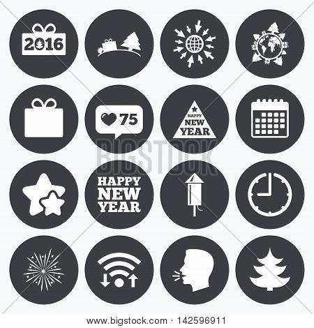 Calendar, wifi and clock symbols. Like counter, stars symbols. Christmas, new year icons. Gift box, fireworks signs. Santa bag, salut and rocket symbols. Talking head, go to web symbols. Vector