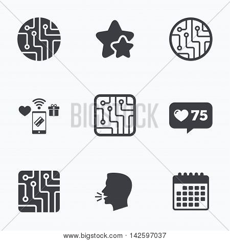 Circuit board icons. Technology scheme circles and squares sign symbols. Flat talking head, calendar icons. Stars, like counter icons. Vector