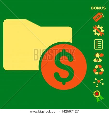 Money Folder icon with bonus pictograms. Vector illustration style is flat iconic bicolor symbols, orange and yellow colors, green background, rounded angles.
