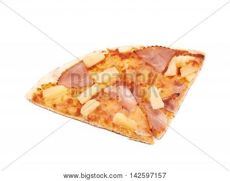 Two hawaiian pizza slices, composition isolated the white background