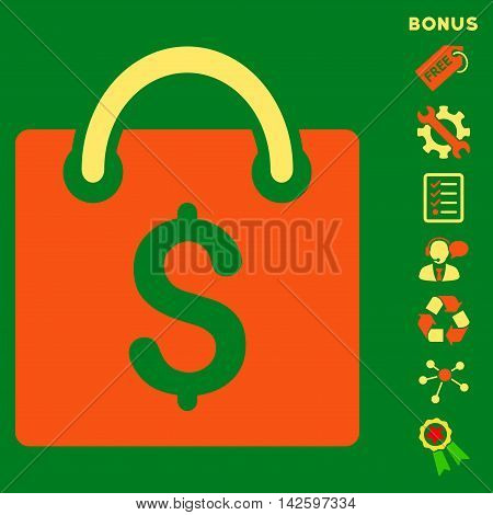 Shopping Bag icon with bonus pictograms. Vector illustration style is flat iconic bicolor symbols, orange and yellow colors, green background, rounded angles.