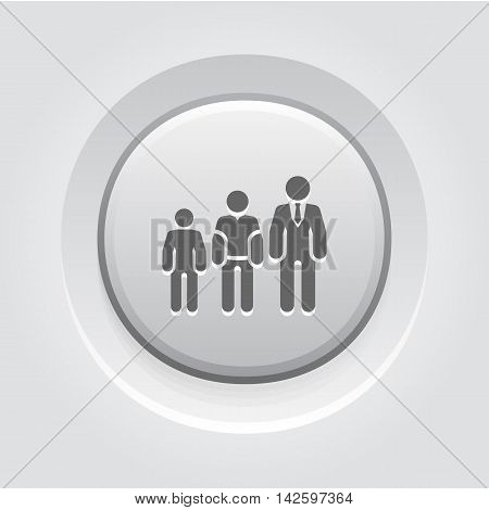 Career Growth Icon. Grey Button Design. Growing Silhouettes of People. Isolated Illustration. App Symbol or UI element.