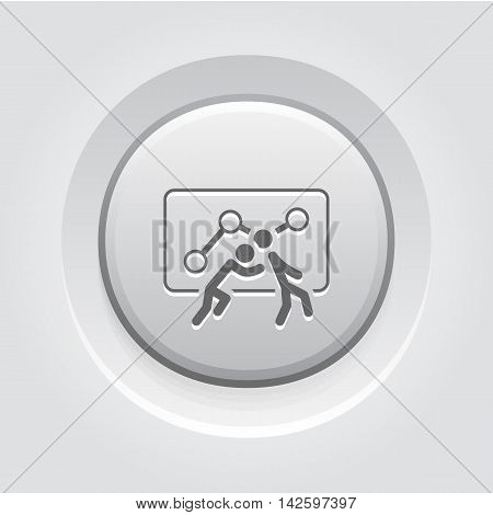 Teamwork Icon. Grey Button Design. One Person Pushes Another. Isolated Illustration. App Symbol or UI element.