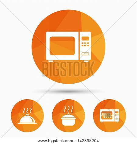Microwave grill oven icons. Cooking pan signs. Food platter serving symbol. Triangular low poly buttons with shadow. Vector