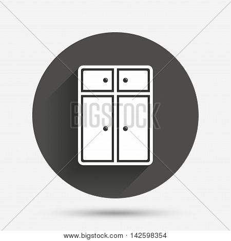 Cupboard sign icon. Modern furniture symbol. Circle flat button with shadow. Vector
