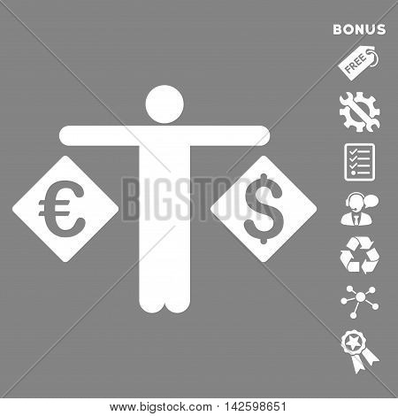 Currency Trader icon with bonus pictograms. Vector illustration style is flat iconic symbols, white color, gray background, rounded angles.