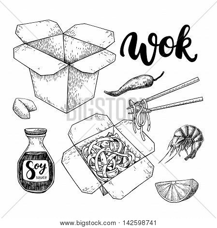 Wok vector drawing with lettering. Isolated chinese box and chopsticks with noodles vegetables and soy sauce. Hand drawn detailed fast asian food illustration. Great for banner poster menu decor