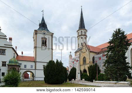 LEVOCA SLOVAKIA - AUGUST 18 2015: St James's Church and Town Hall in Levoca Slovakia.
