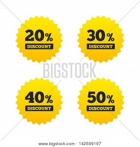 Sale discount icons. Special offer price signs. 20, 30, 40 and 50 percent off reduction symbols. Yellow stars labels with flat icons. Vector