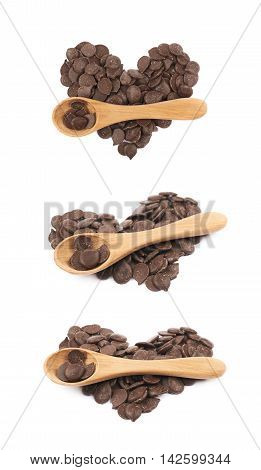 Heart shape made of cooking chocolate teardrop shaped chips with the wooden spoon over it, composition isolated over the white background, set of three different foreshortenings