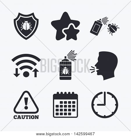 Bug disinfection icons. Caution attention and shield symbols. Insect fumigation spray sign. Wifi internet, favorite stars, calendar and clock. Talking head. Vector