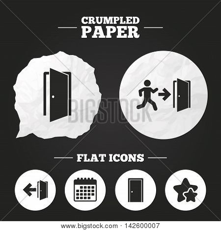 Crumpled paper speech bubble. Doors icons. Emergency exit with human figure and arrow symbols. Fire exit signs. Paper button. Vector