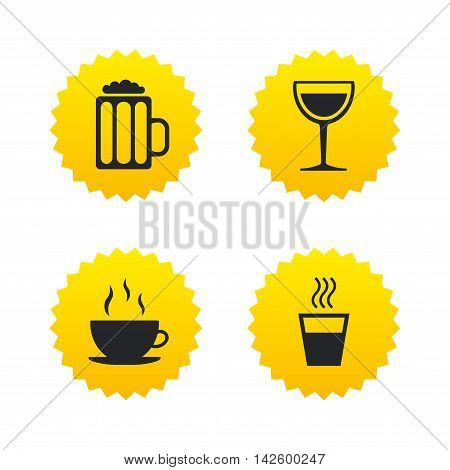 Drinks icons. Coffee cup and glass of beer symbols. Wine glass sign. Yellow stars labels with flat icons. Vector