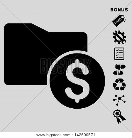 Money Folder icon with bonus pictograms. Vector illustration style is flat iconic symbols, black color, light gray background, rounded angles.