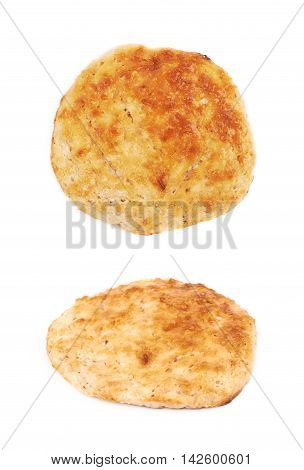 Cottage cheese flapjack flat cake isolated over the white background, set of two different foreshortenings