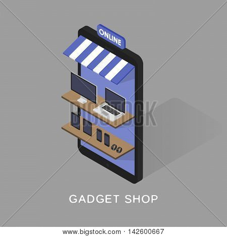 Isometric concept store online shopping of gadgets and electronics. Mobile phone store front. Sartwatches, tablets, computers, laptops on the shelves.