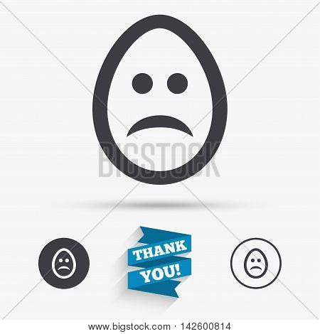 Sad Easter egg face sign icon. Sadness depression chat symbol. Flat icons. Buttons with icons. Thank you ribbon. Vector