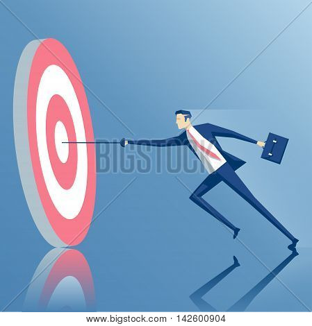 businessman with a rapier hits the center of the target the employee runs with a sword to the target business concept success and goal