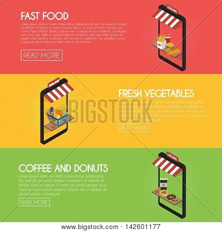 Set online food ordering banners. Shipping and buying fastfood, drinks, fresh products. Isometric facade of the store concept illustration.