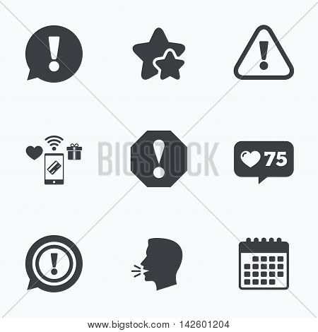 Attention icons. Exclamation speech bubble symbols. Caution signs. Flat talking head, calendar icons. Stars, like counter icons. Vector