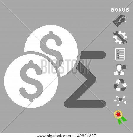 Coin Summary icon with bonus pictograms. Vector illustration style is flat iconic bicolor symbols, dark gray and white colors, silver background, rounded angles.