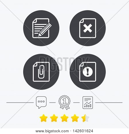 File attention icons. Document delete and pencil edit symbols. Paper clip attach sign. Chat, award medal and report linear icons. Star vote ranking. Vector