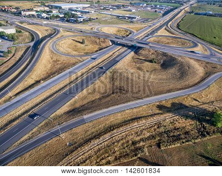 aerial view of intersection of I-25 freeway and highway 14 in Fort Collins, Colorado