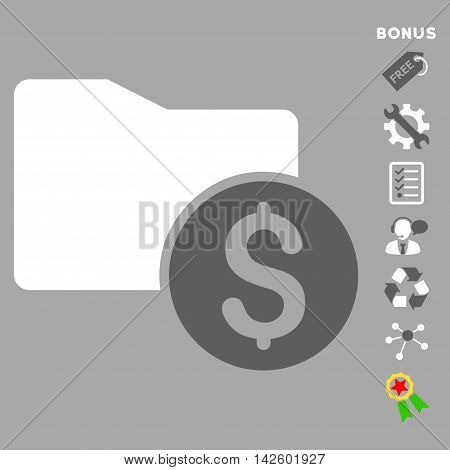 Money Folder icon with bonus pictograms. Vector illustration style is flat iconic bicolor symbols, dark gray and white colors, silver background, rounded angles.