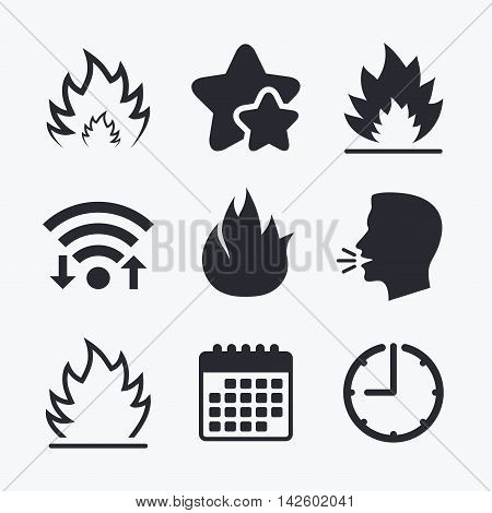 Fire flame icons. Heat symbols. Inflammable signs. Wifi internet, favorite stars, calendar and clock. Talking head. Vector
