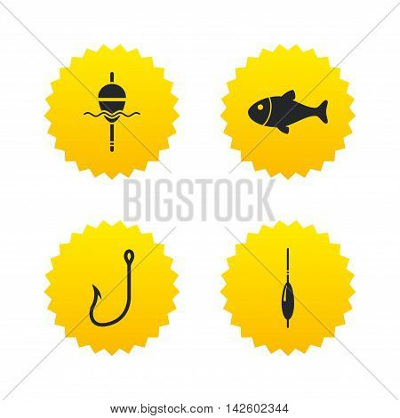 Fishing icons. Fish with fishermen hook sign. Float bobber symbol. Yellow stars labels with flat icons. Vector