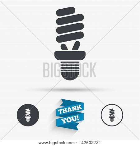 Fluorescent lamp bulb sign icon. Energy saving. Idea and success symbol. Flat icons. Buttons with icons. Thank you ribbon. Vector
