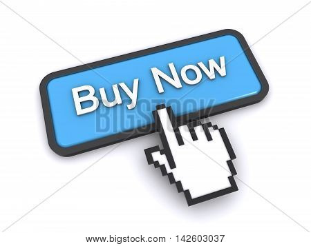 3d rendering of a cursor clicking on buy now button