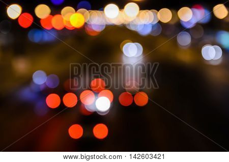 Night view pedestrian at modern city crossing street Blur abstract