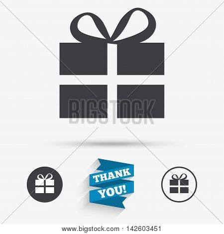 Gift box sign icon. Present symbol. Flat icons. Buttons with icons. Thank you ribbon. Vector