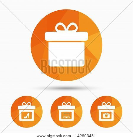 Gift box sign icons. Present with bow symbols. Photo camera sign. Woman shoes. Triangular low poly buttons with shadow. Vector