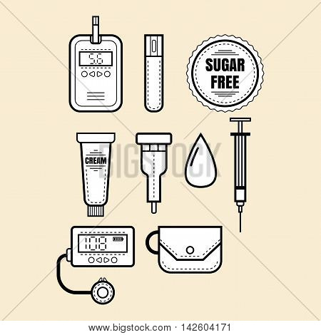 Diabetes. Set of linear icons and objects. Glucometer. Vector illustration