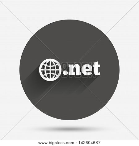 Domain NET sign icon. Top-level internet domain symbol with globe. Circle flat button with shadow. Vector