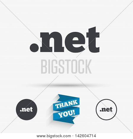 Domain NET sign icon. Top-level internet domain symbol. Flat icons. Buttons with icons. Thank you ribbon. Vector