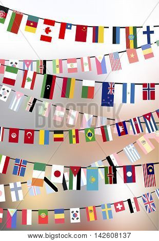 Different countries flags hangs on the ropes on blurred background