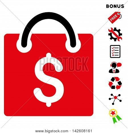 Shopping Bag icon with bonus pictograms. Vector illustration style is flat iconic bicolor symbols, intensive red and black colors, white background, rounded angles.