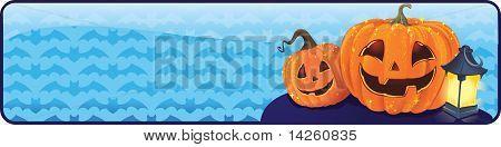 Banner de Halloween com um jack-o-lanterna