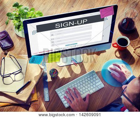 Sign Up Membership Registration Follow Concept