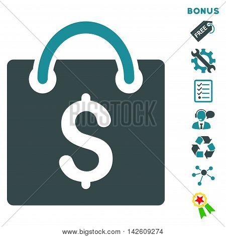 Shopping Bag icon with bonus pictograms. Vector illustration style is flat iconic bicolor symbols, soft blue colors, white background, rounded angles.