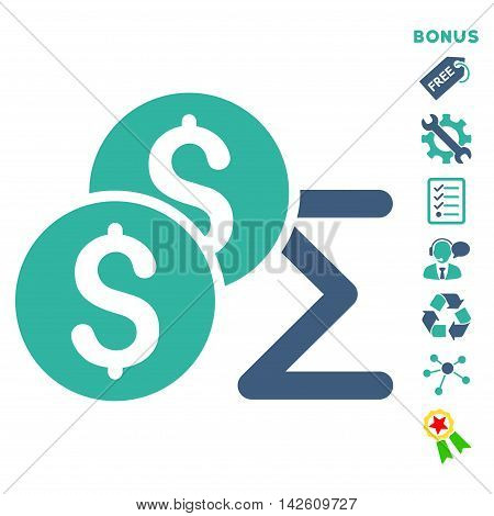 Coin Summary icon with bonus pictograms. Vector illustration style is flat iconic bicolor symbols, cobalt and cyan colors, white background, rounded angles.