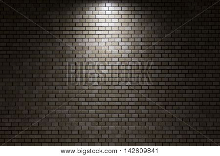 Modern brown bricks wall pattern with light spot background