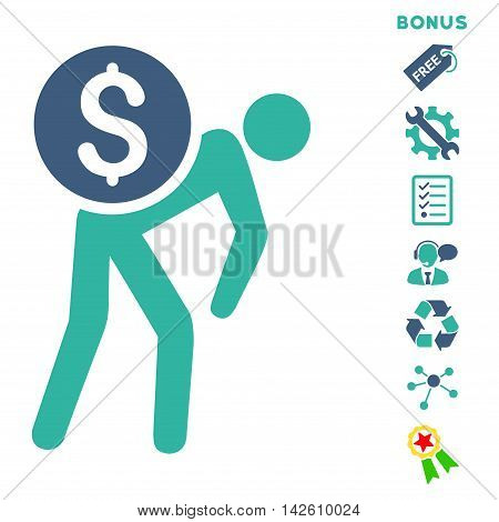 Financial Courier icon with bonus pictograms. Vector illustration style is flat iconic bicolor symbols, cobalt and cyan colors, white background, rounded angles.
