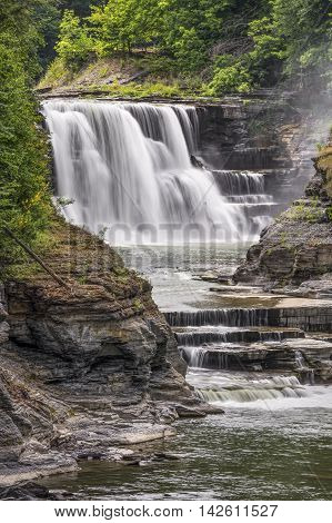 New York's Genesee River plunges over the Lower Falls at Letchworth State Park.