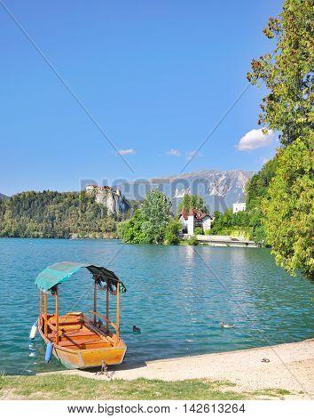 traditional wooden Boat called Pletna at Lake Bled in Triglav National Park,Slovenia