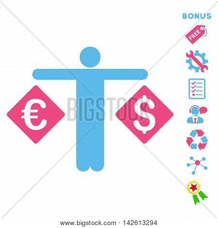 Currency Trader icon with bonus pictograms. Vector illustration style is flat iconic bicolor symbols, pink and blue colors, white background, rounded angles.